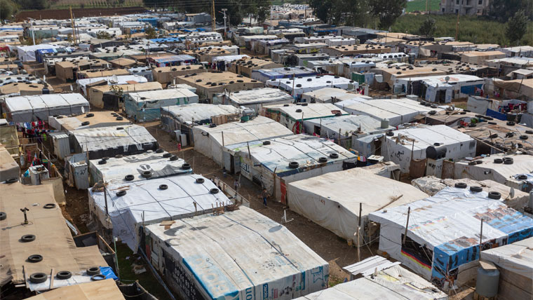 Aerial view of rows of tents in a Lebanese settlement for Syrian refugees