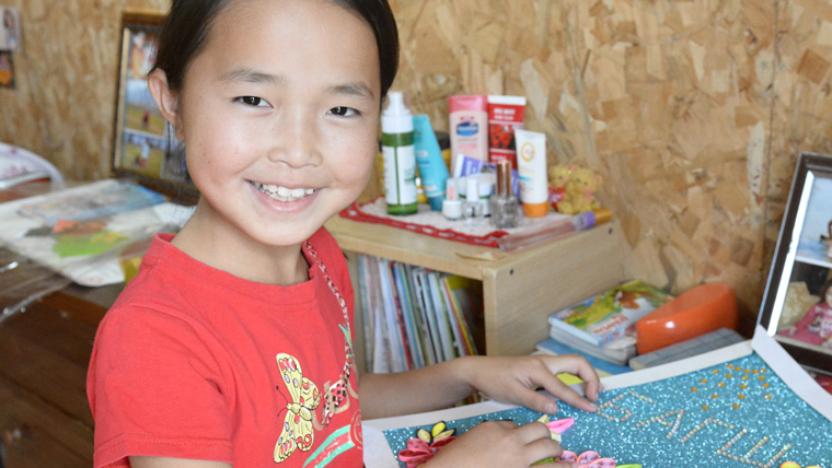 11-year-old Enkhzaya took origami classes with World Vision during the Mongolian school summer holidays.
