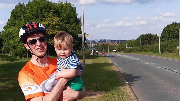 16-month-old Cobie is fundraising with his dad (pictured) and Grandad, around Milton Keynes
