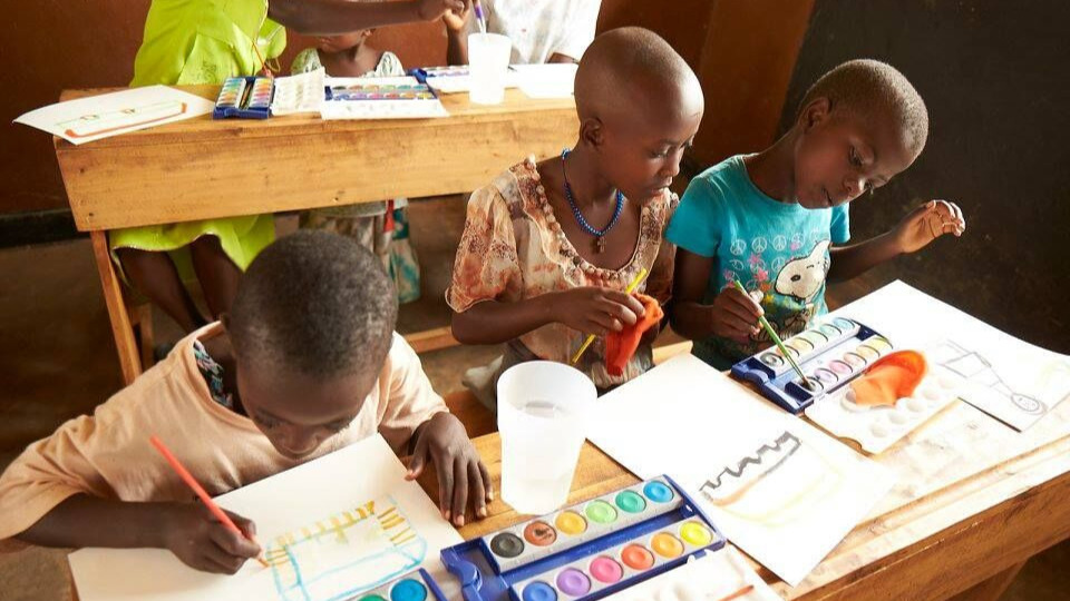 Children paining in Rwanda