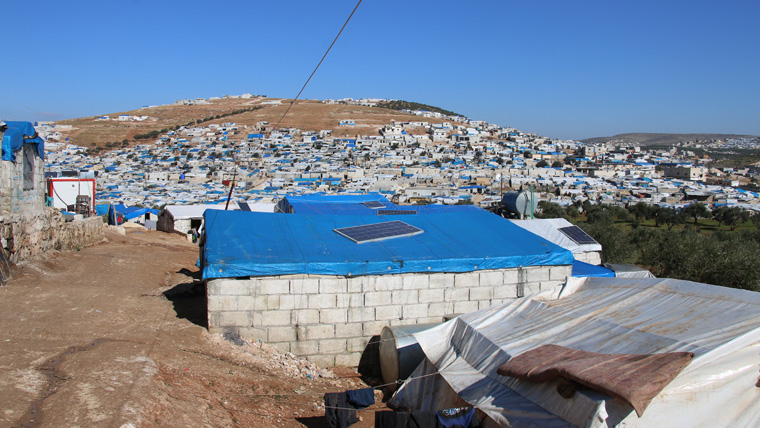 Overlooking the refugee camp.