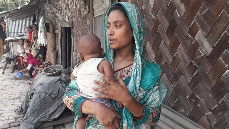 Aysha and her six-month-old baby boy live in Patenga, Bangladesh: one of the areas preparing for Super Cyclone Amphan to make landfall.