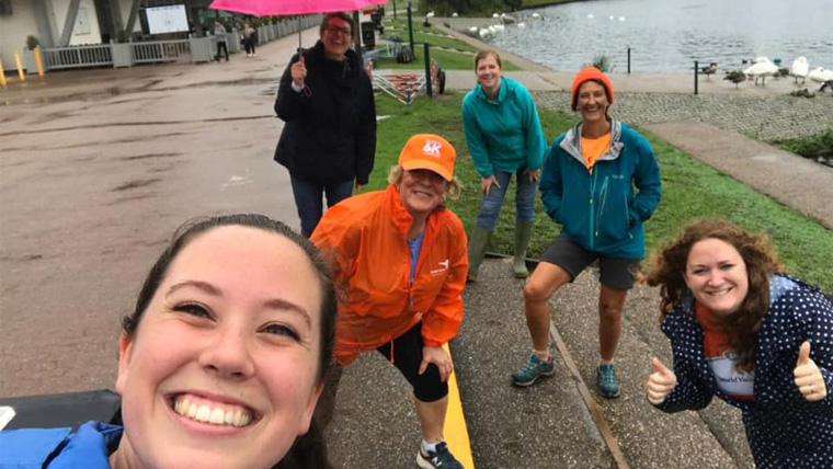 Charlotte and friends during their soggy 6K for Water
