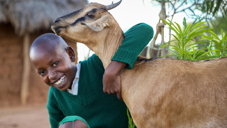 Joseph, 14, in Kenya, is so grateful for the goat his family have received.