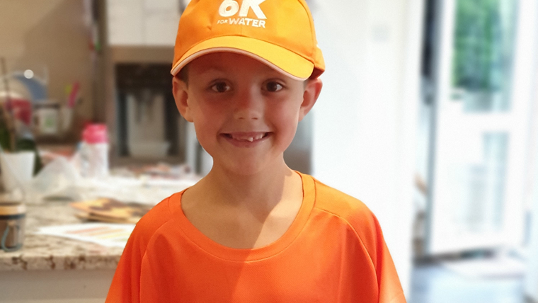Christopher, 7, is one of many young fundraisers helping their peers in vulnerable countries