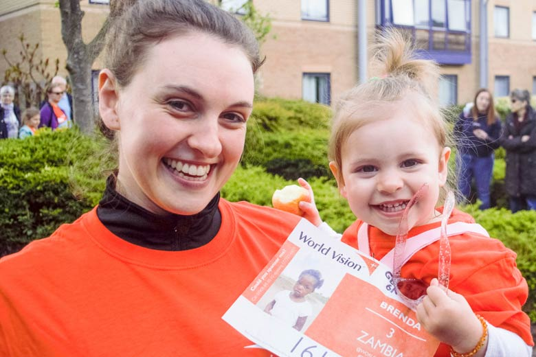 A mum and child take part in Global 6K for Water 2019