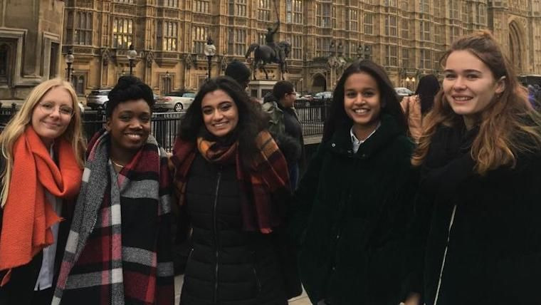 Youth campaigners at UK parliament.