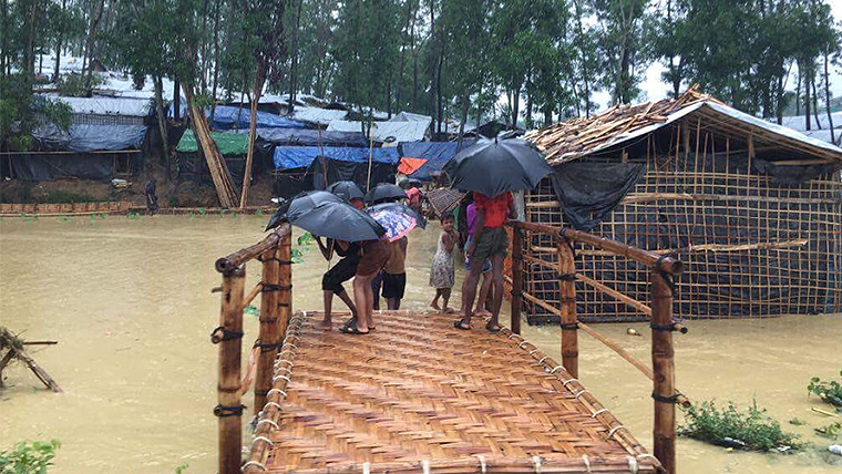 Torrential downpours have triggered flooding and landslides in Cox's Bazar, Bangladesh