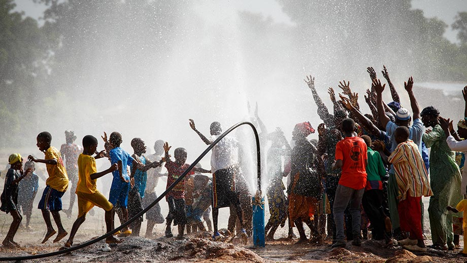 Celebrating a borehole installation - Mali