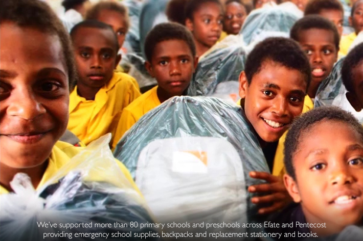 We've supported more than 80 primary schools and preschools across Efate and Pentecost providing emergency school supplies, backpacks and replacement stationery and books. Photo Credit: Chloe Morrison/World Vision