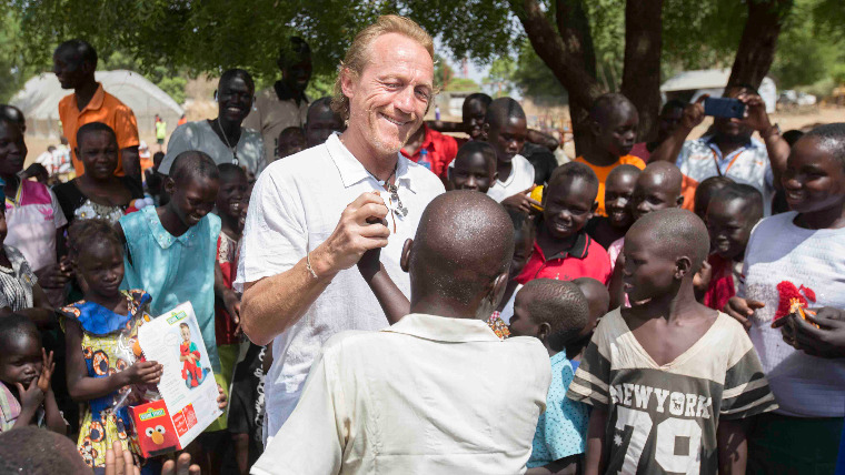 Game of Thrones star Jerome Flynn meets South Sudan's child soldiers