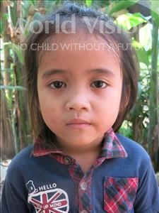 Choose a child to sponsor, like this little girl from Soutr Nikom, Kanha age 5