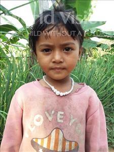 Choose a child to sponsor, like this little girl from Soutr Nikom, Khemra age 5