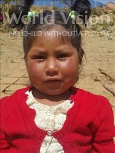 Choose a child to sponsor, like this little girl from Mosoj Punchay, Gladis age 2