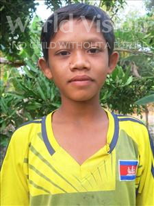 Choose a child to sponsor, like this little boy from Soutr Nikom, Mab age 13
