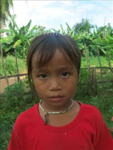Choose a child to sponsor, like this little girl from Soutr Nikom, Taing Hun age 6