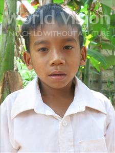 Choose a child to sponsor, like this little boy from Soutr Nikom, Vicheat age 7