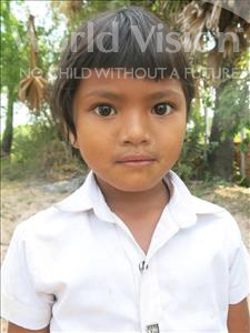 Choose a child to sponsor, like this little girl from Soutr Nikom, Samnang age 6
