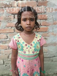 Choose a child to sponsor, like this little girl from Vaishali, Sinku age 7
