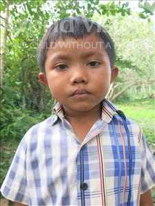 Choose a child to sponsor, like this little boy from Soutr Nikom, Pisith age 6