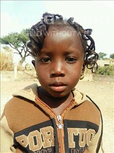 Choose a child to sponsor, like this little girl from Loul, Odile Diatou age 3