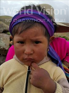 Choose a child to sponsor, like this little girl from Mosoj Punchay, Lourdes age 3