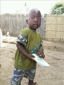 Choose a child to sponsor, like this little boy from Mbella, Ousseynou age 2