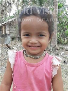 Choose a child to sponsor, like this little girl from Soutr Nikom, Theary age 3