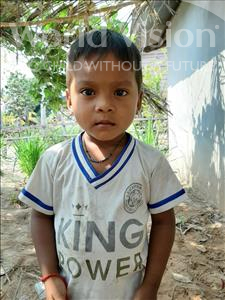 Choose a child to sponsor, like this little boy from Soutr Nikom, Sela age 3