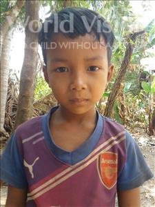 Choose a child to sponsor, like this little boy from Soutr Nikom, Socheat age 6