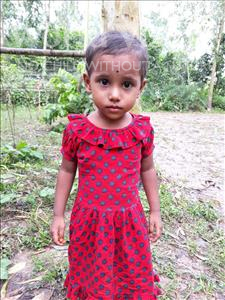 Choose a child to sponsor, like this little girl from Ghoraghat, Sahojadi age 3