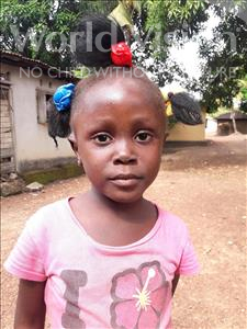 Choose a child to sponsor, like this little girl from Jaiama Bongor, Aminata age 6
